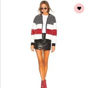 ASH STRIPPED PANEL FAUX FUR BOMBER IN MULTI COLOR
